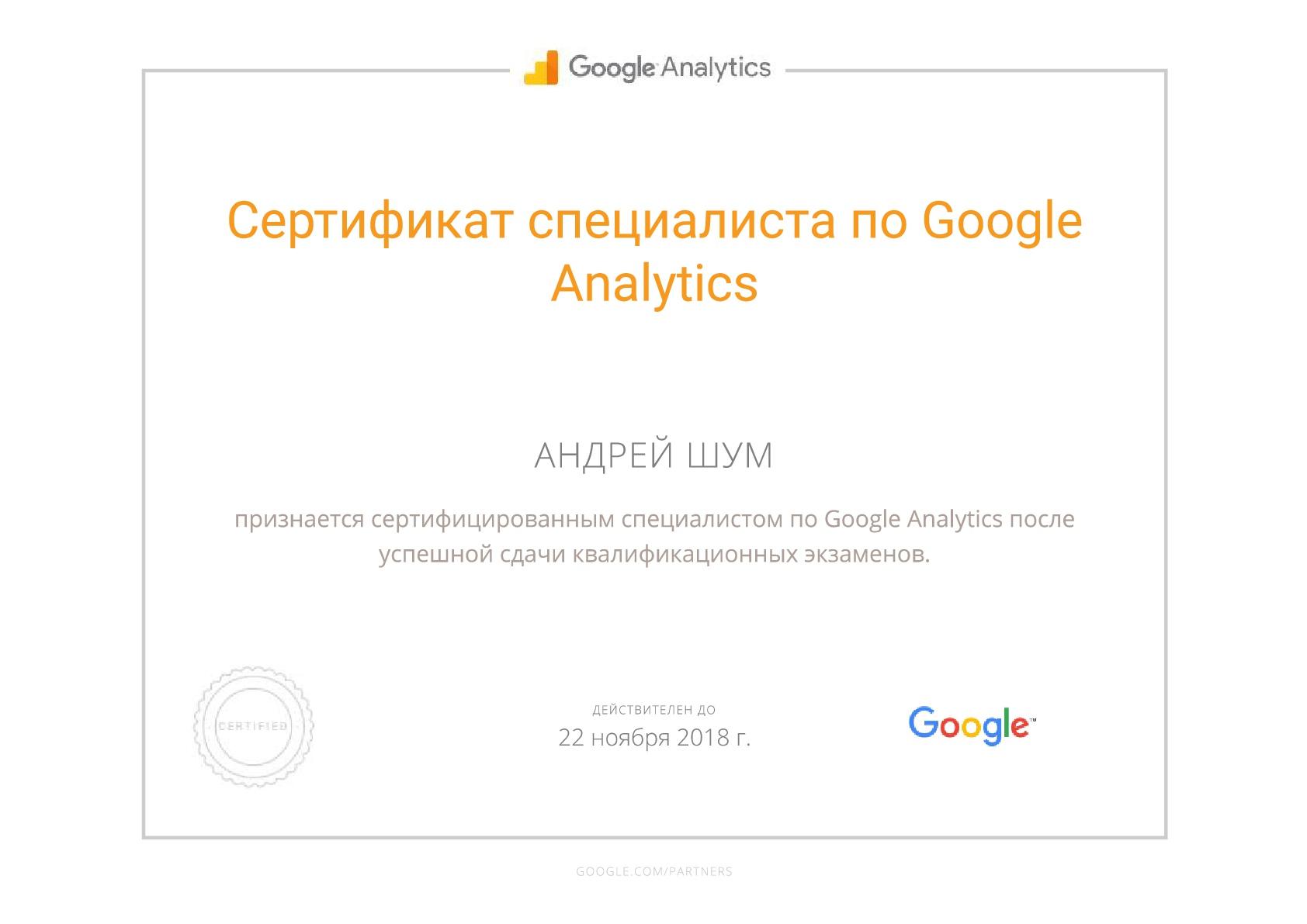 сертификат гугл аналитикс - шум андрей